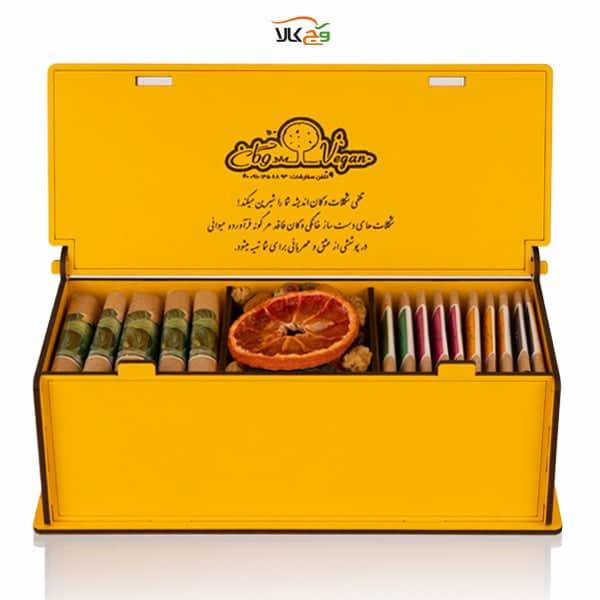 جعبه شکلات، دمنوش و آجیل وگان